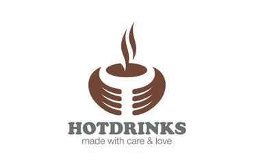 Cafe Coffee Tea Logo design vector. Hot Drinks Logotype