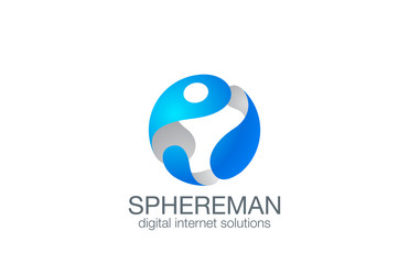 3D Sphere Man Logo design vector. Business Logotype