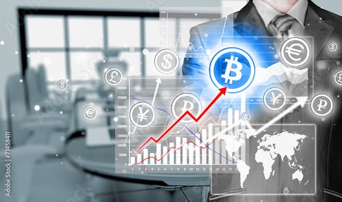 canvas print picture Choosing bitcoins, businessman pressing touch screen button.