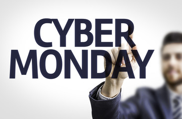 Business man pointing the text: Cyber Monday