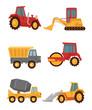 Stock vector construction car flat simple icon set
