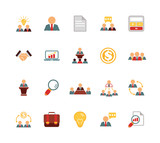 Stock vector team management color pictograph icon set poster