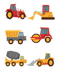 Stock vector construction car flat simple icon set