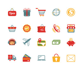 Stock vector e commerce color pictograph icons set
