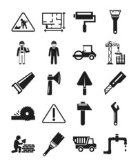 Stock vector construction pictogram simple black icon set