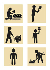 Construction man icon pictogram silhouette set