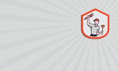 Business card Plumber Wielding Wrench Plunger Cartoon