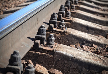 Details of modern railway, closeup photo