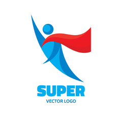 Super - vector logo concept. People character. Flying man.