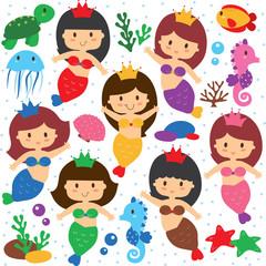 mermaid and sea creatures clip art set