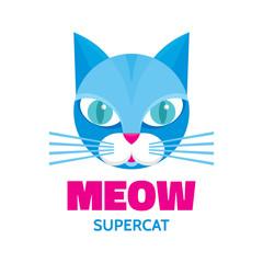 Meow - supercat - vector concept illustration. Blue cat animal.