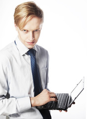 Young businessman use laptop.