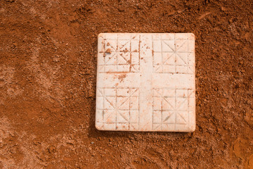 base in a baseball field close up