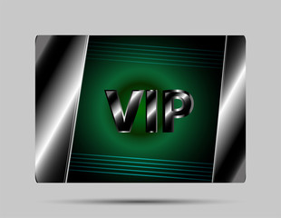 Vip card vector green background