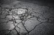 canvas print picture - Dark asphalt road with cracks. Background texture