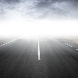 Fototapety Empty foggy rural asphalt highway perspective with white line