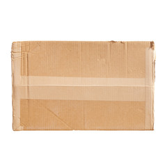 Standard cardboard box isolated on white background