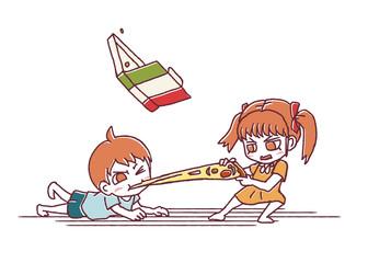 姉弟とピザ