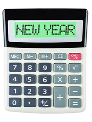 Calculator with NEW YEAR on display isolated on white background