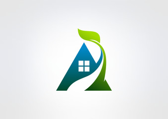 eco house logo abstract real estate countryside
