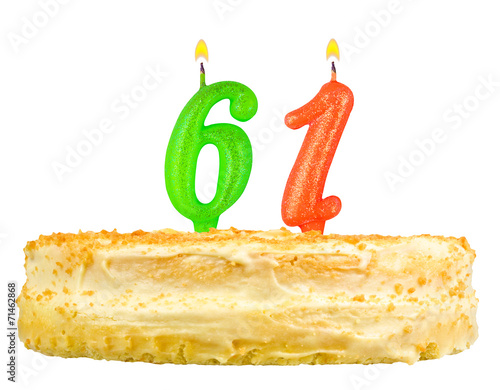 Poster birthday cake with candles number sixty one isolated on white