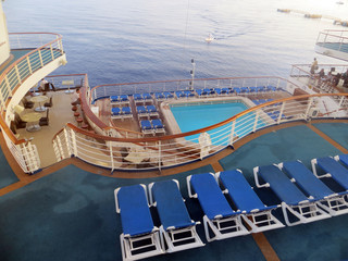 Pool on a cruise ship overlooking the ocean