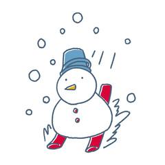 スキーをする雪だるま