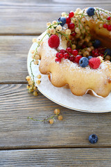 homemade cake with assorted berry