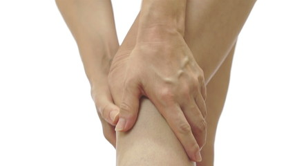 Female Rubbing Her Painful Knee