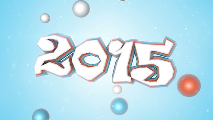 celebration 2015 new year 3D sign loopable