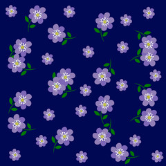 Vector of Blue Flower Pattern