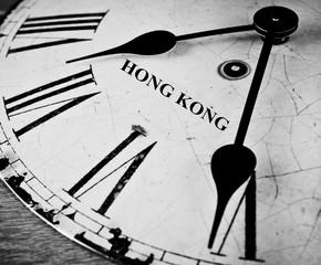 Hong Kong black and white clock face