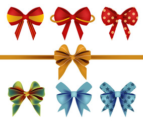 Vector of Bow Ribbon Set