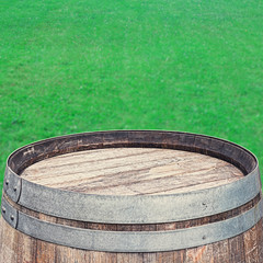 Rustic Barrel top on  green background