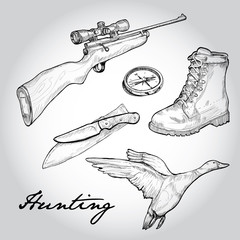 Hunting set. Illustration of items use on hunting trips.