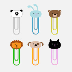Paperclips animal head set Panda rabit, dog cat lion bear Flat