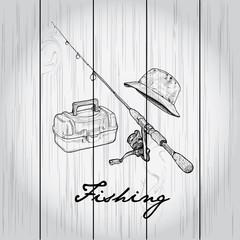 Vintage image of Fishing on wood board.