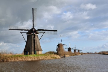 The World Heritage Kinderdijk windmills at the Netherlands