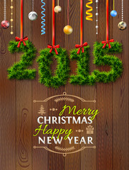 New Year 2015 of twigs like christmas decoration. Wood texture