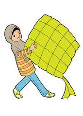 Muslim asian girl with big ketupat
