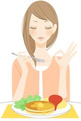 食事をする笑顔の女性 マル