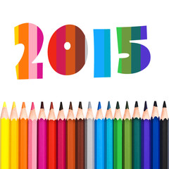 2015, row of colorful pencils isolated on white background