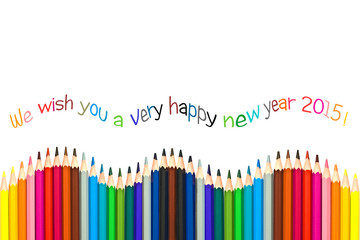 Happy new year 2015 greeting card , colorful pencils