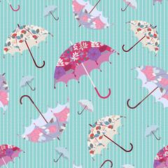 Umbrellas - autumn seamless pattern