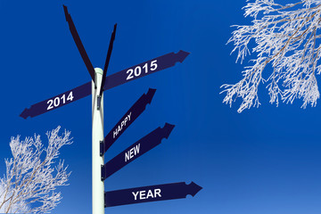 Happy new year 2015 on direction panels, snowy trees