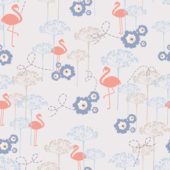 Pink flamingo - vector seamless pattern