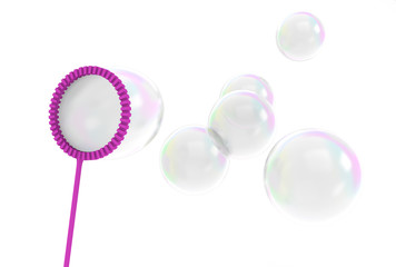 Reflective bubbles being blown from a wand toy