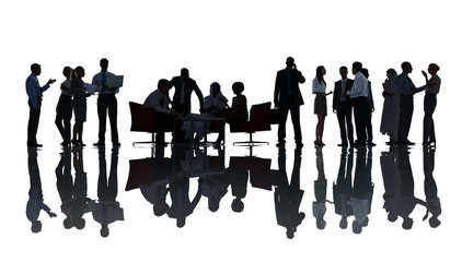 Silhouette Group of People in Meeting