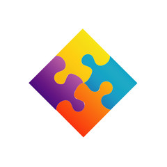 Colorful puzzle- corporate logo for business