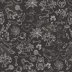 Halloween seamless pattern sketch doodle